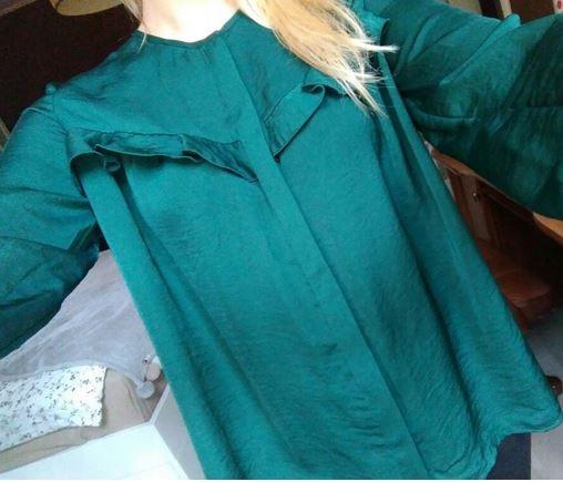 Mango bluzka butelkowa zielen xs 34 falbanka