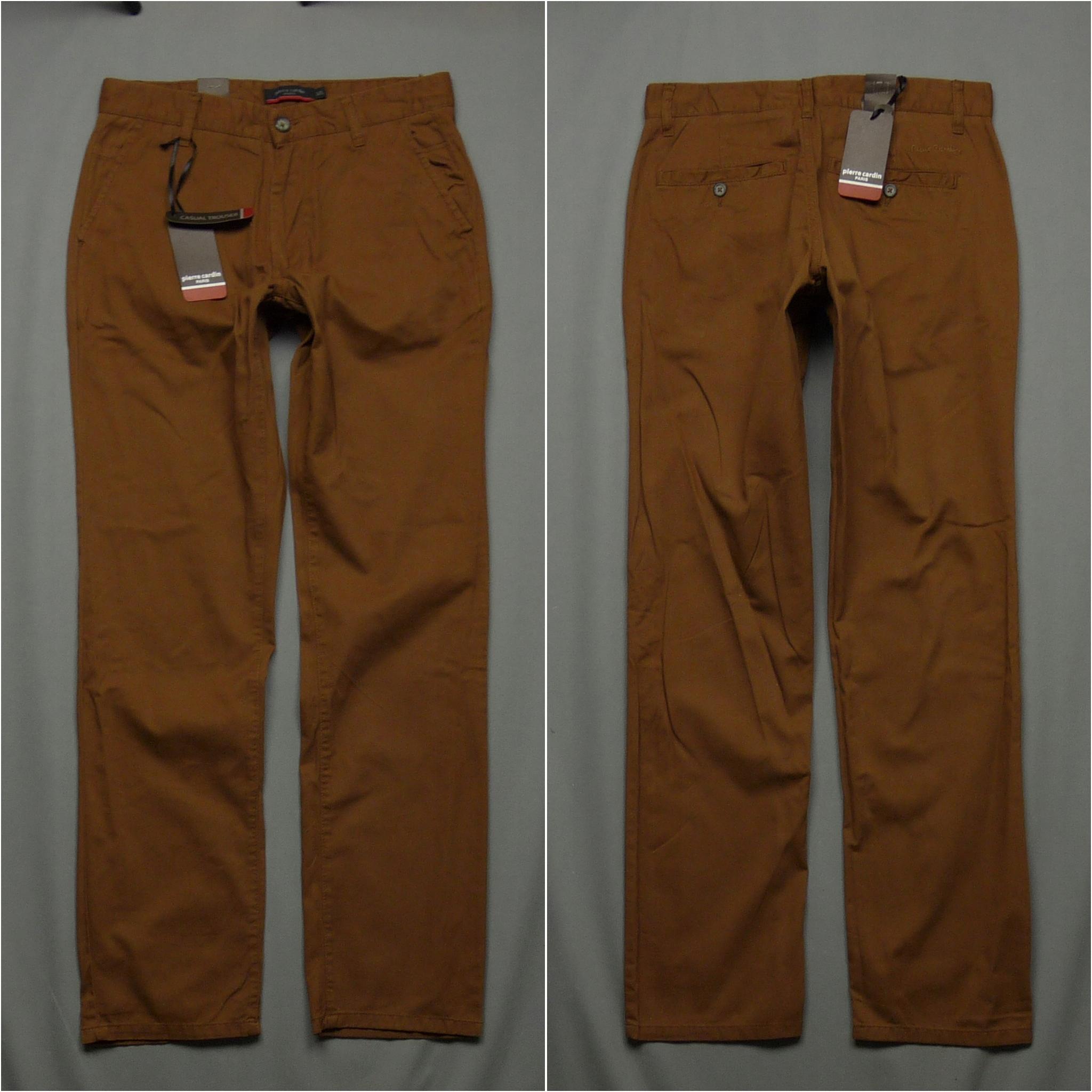 PIERRE CARDIN nowe bawełniane spodnie logo W31 L32