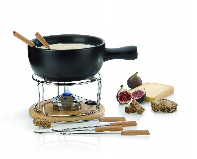 Kela zestaw do fondue drewno i ceramika 1l