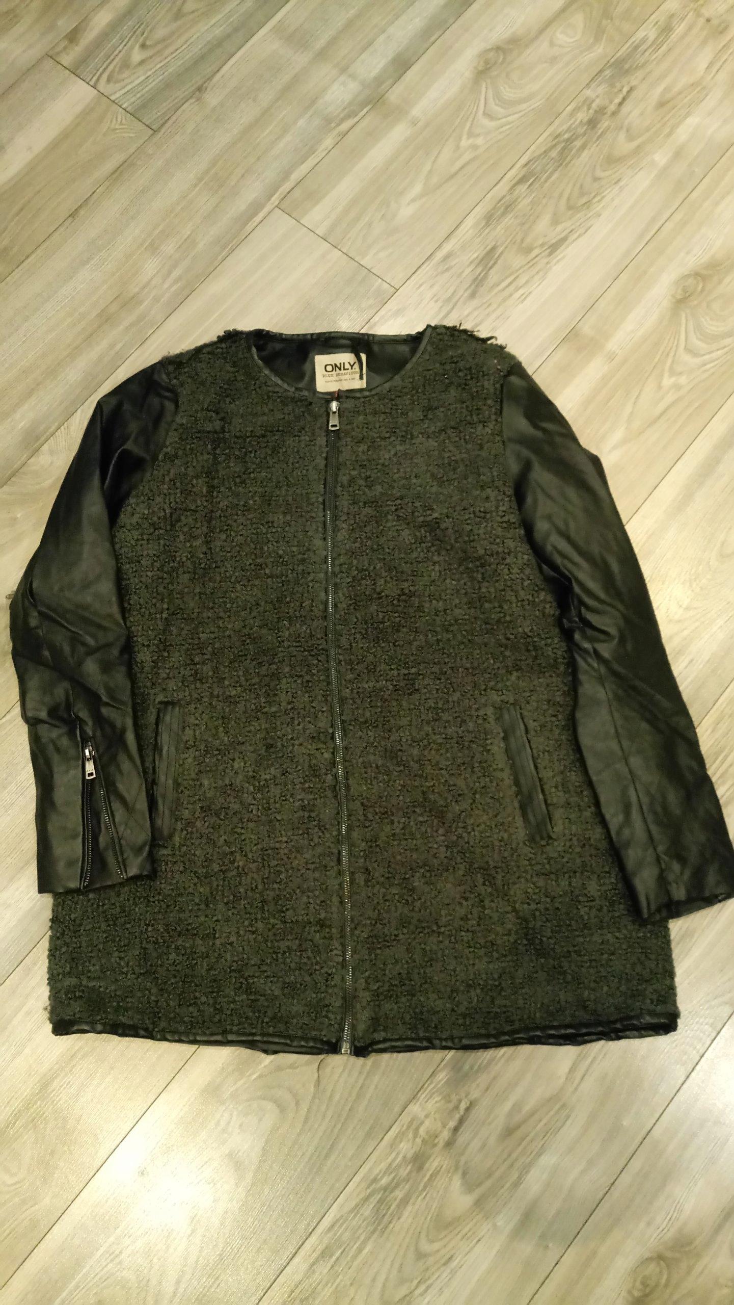 712b196470740 ONLY kurtka płaszcz skórzane rękawy L - 7423039222 - oficjalne ...