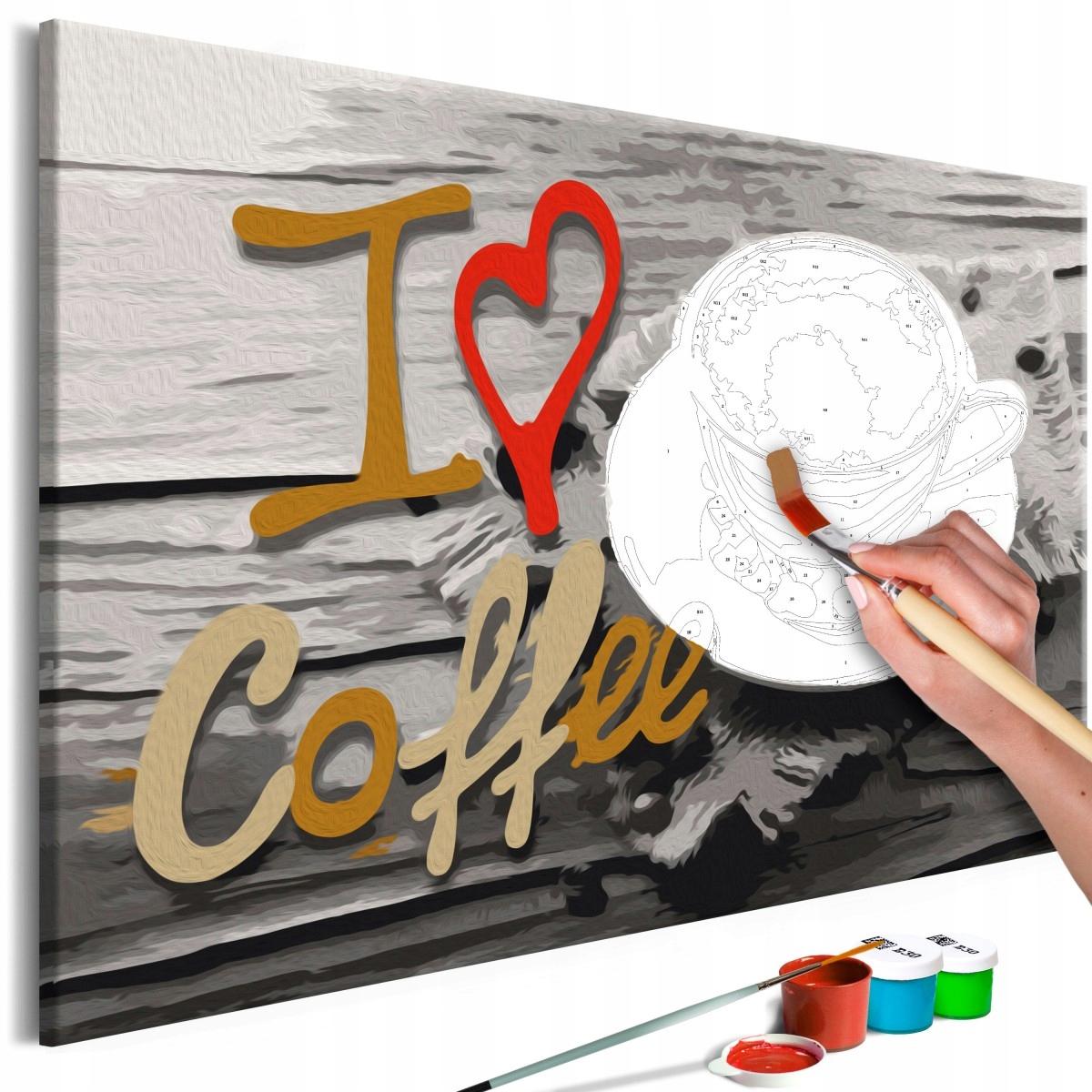 Obraz do samodzielnego malowania - Kocham kawę (Ro