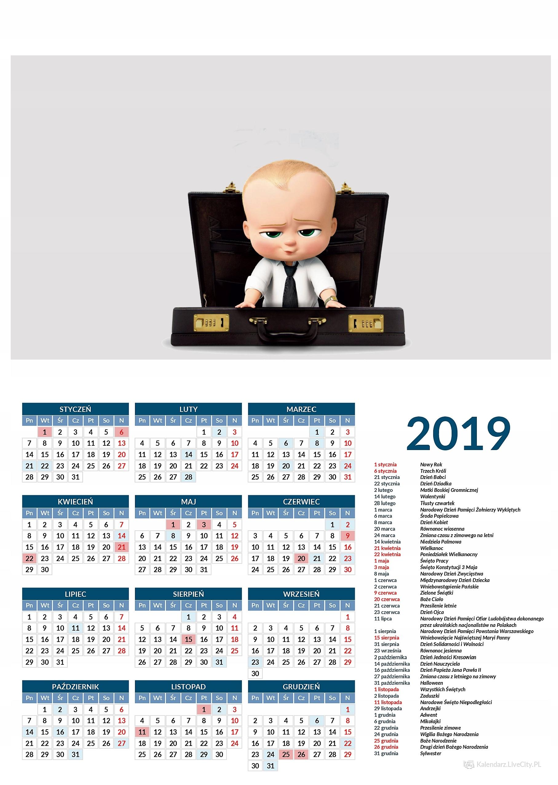 Kalendarz 2019 film dzieciak rządzi