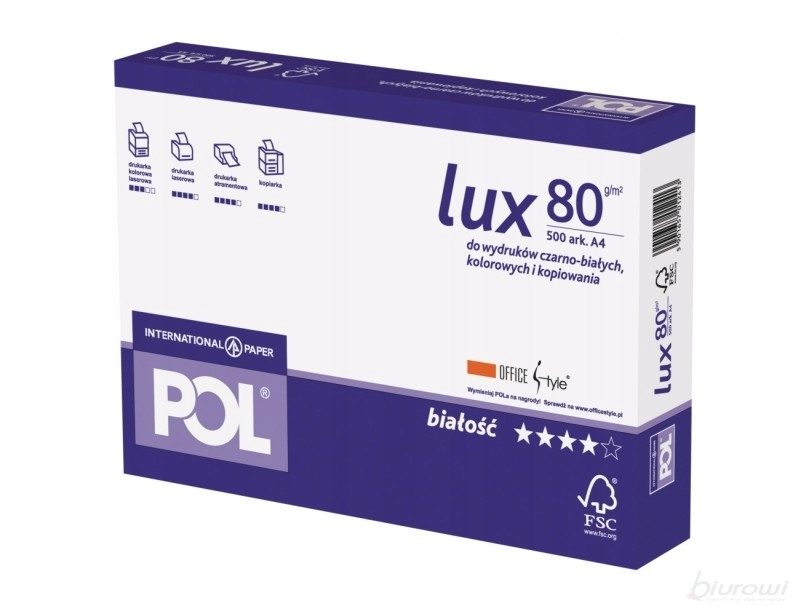 Papier ksero POLLUX, PLANO A3 80g 1 ryza 500 ark