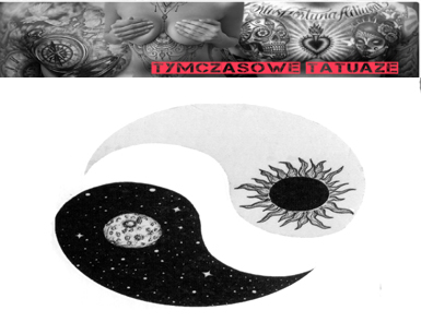 Tatuaż Tymczasowy Słońce Księżyc Yin I Yang Meta