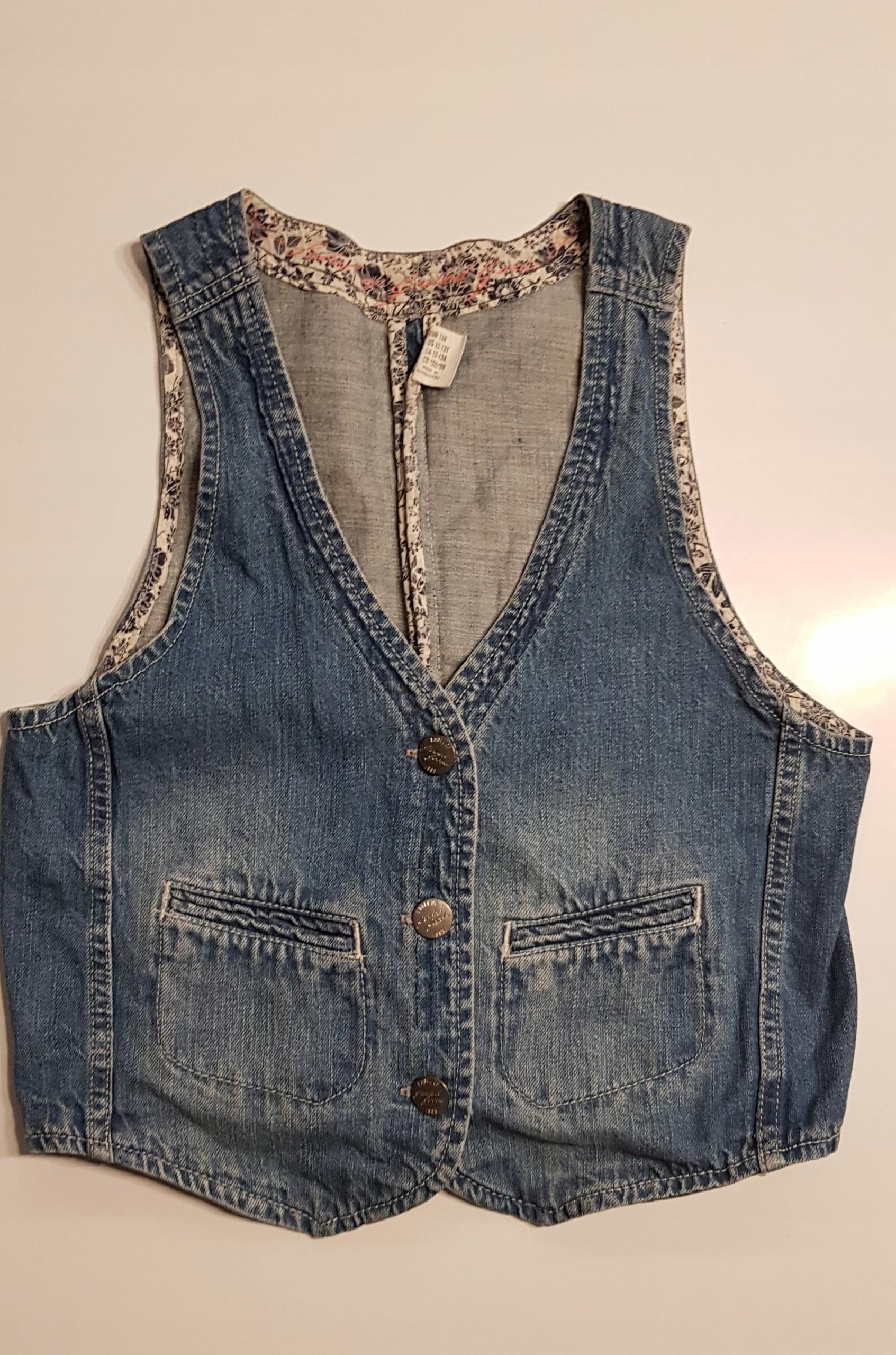 H&M dziewczęca jeansowa kamizelka r.158