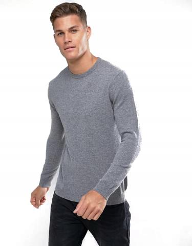 sNW0045 BENETTON szary sweter, wełna merino XS