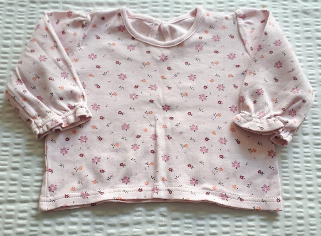 Bluzka różowa kwiatki długi rękaw r. 68 3-6 mc