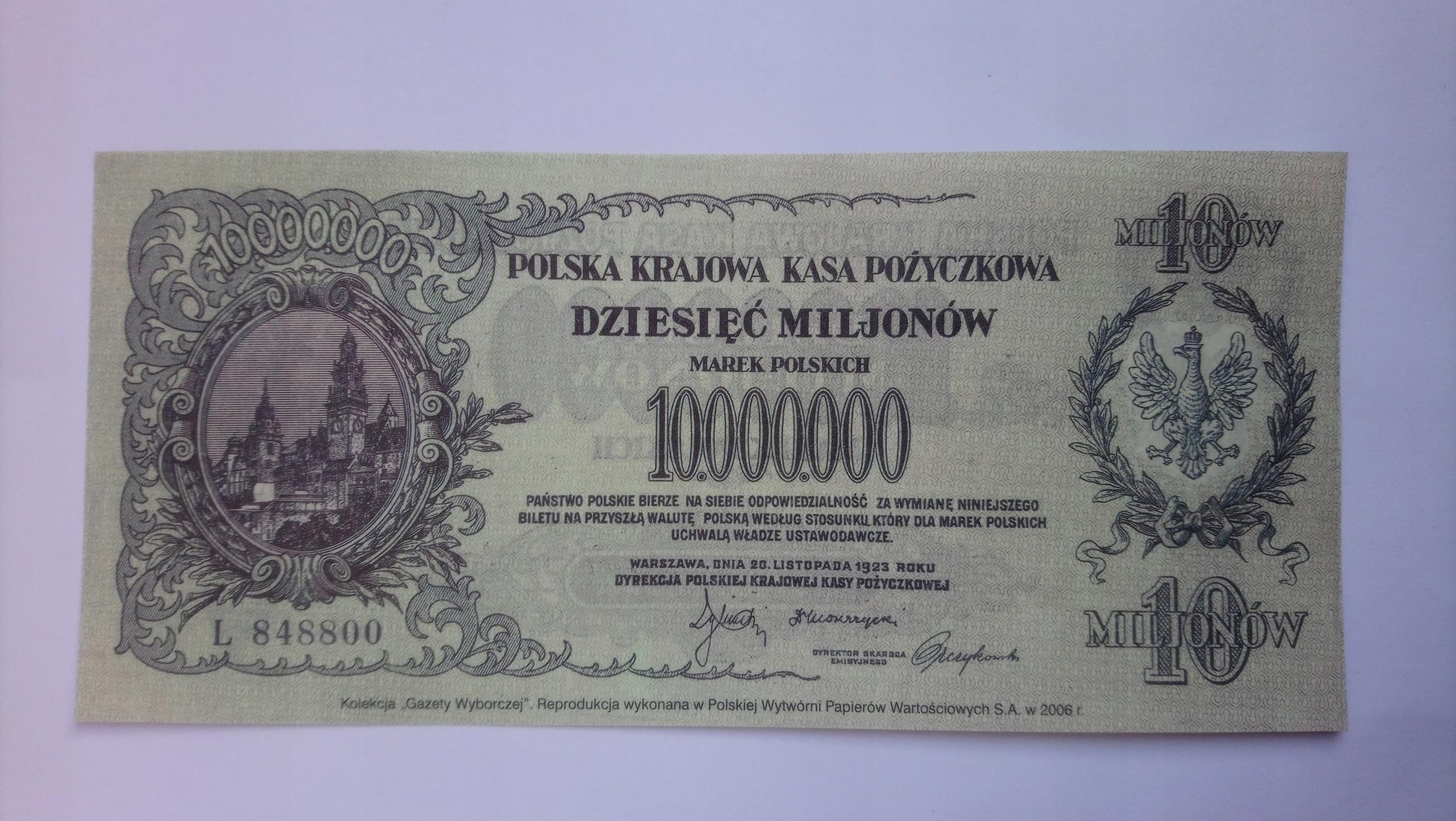 Banknot 10000000 Marek Polskich 1923 rok SERIA: L
