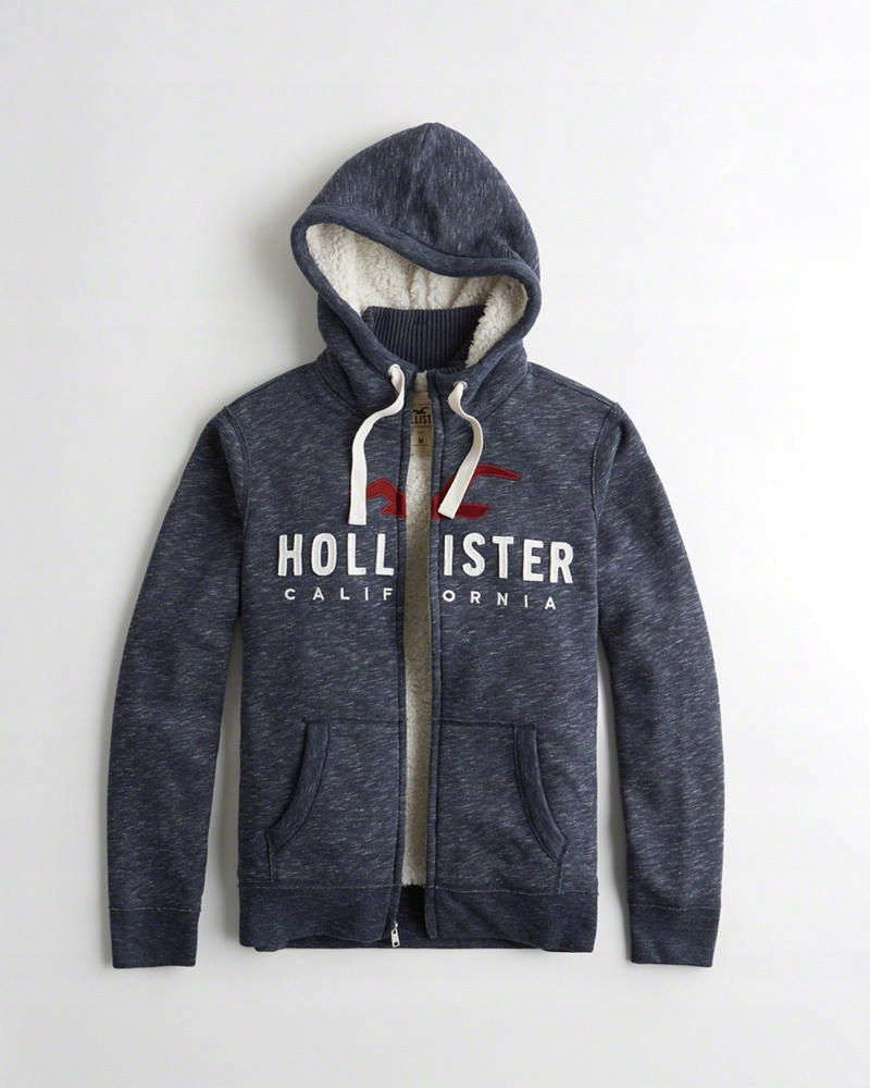Hollister Sherpa Lined Logo Textured Hoodie S