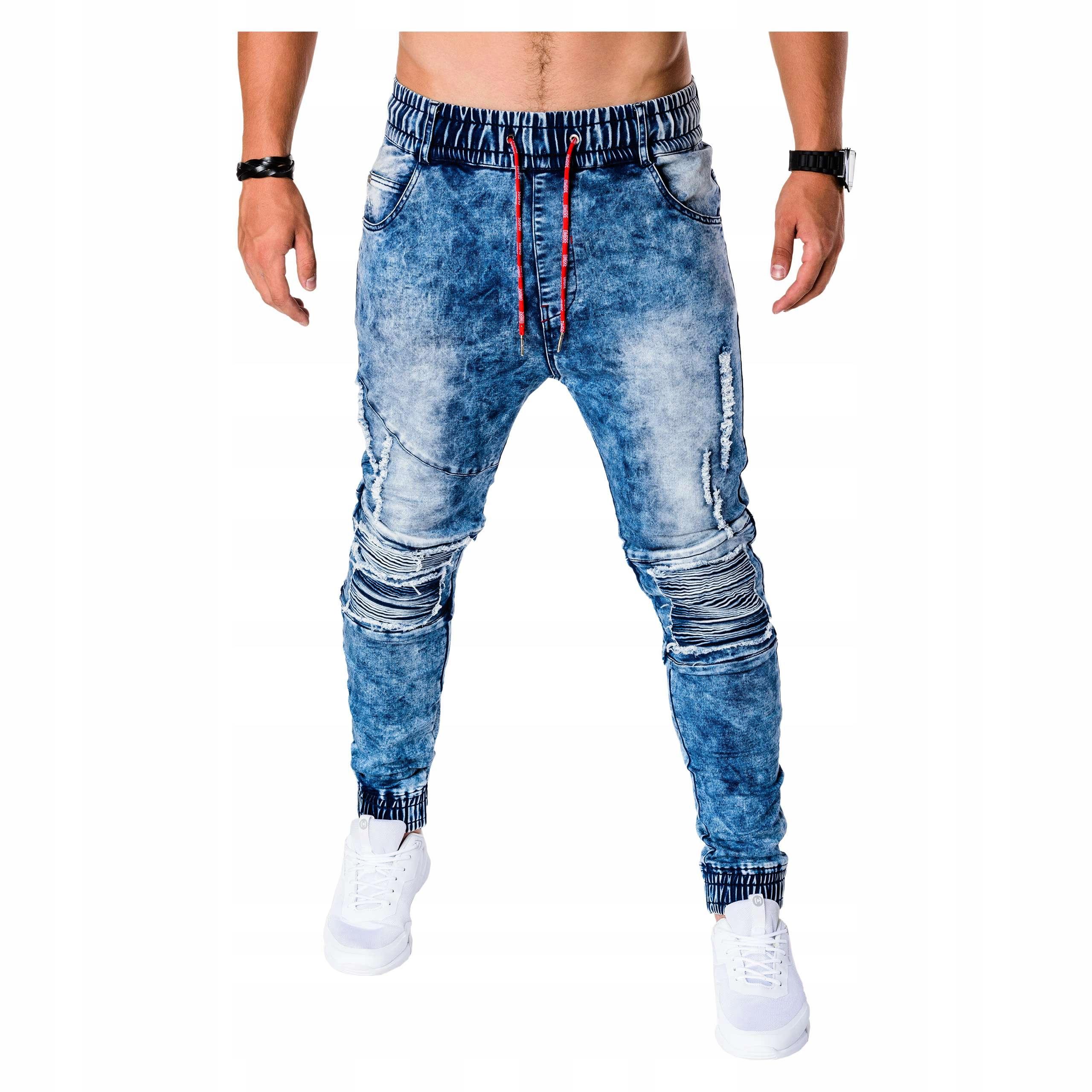 68001b7c915202 Joggery jeansowe casual z dziurami P676 jeans M - 7568204779 ...