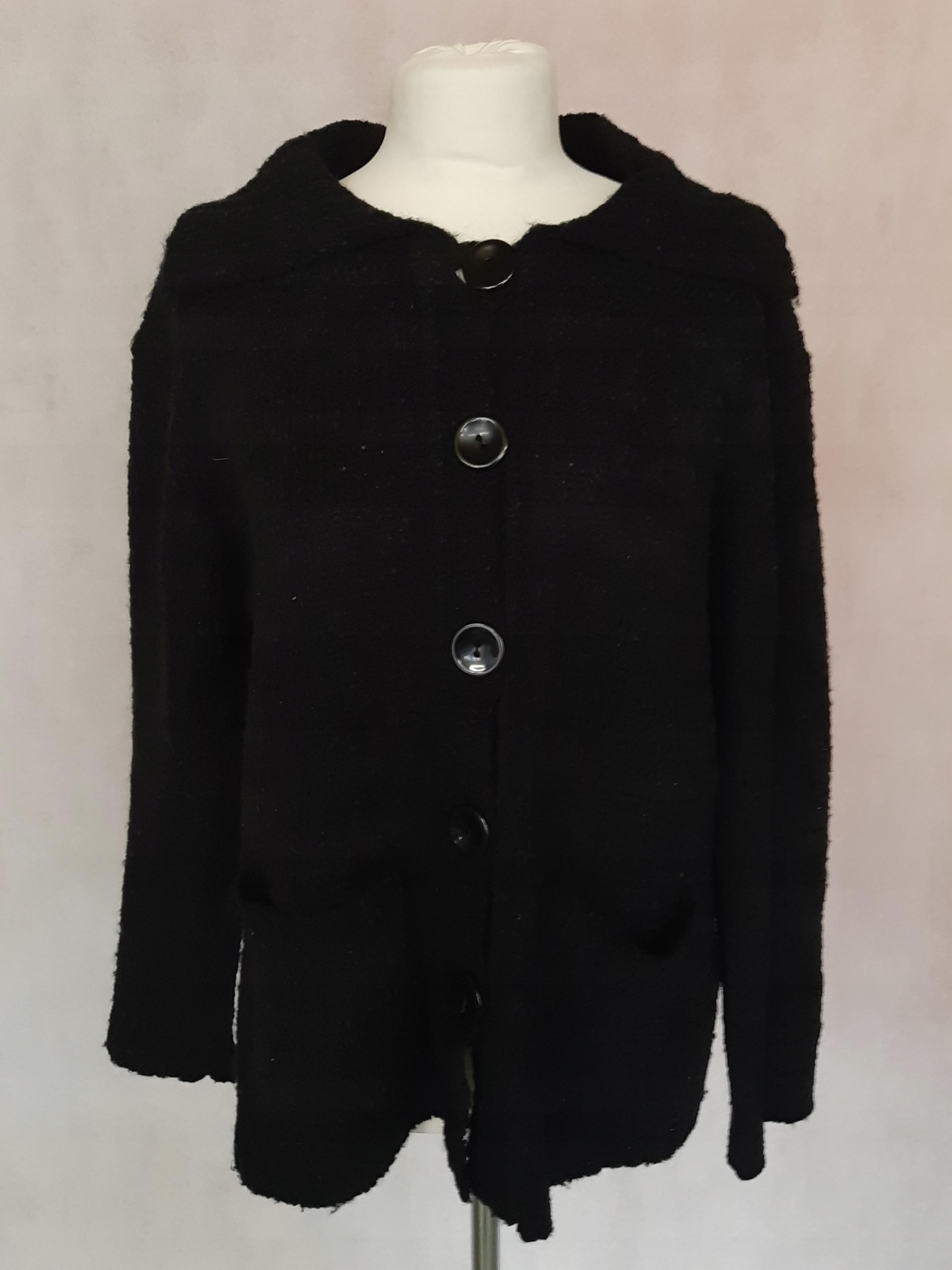 Czarny rozpinany sweter damski moher R9