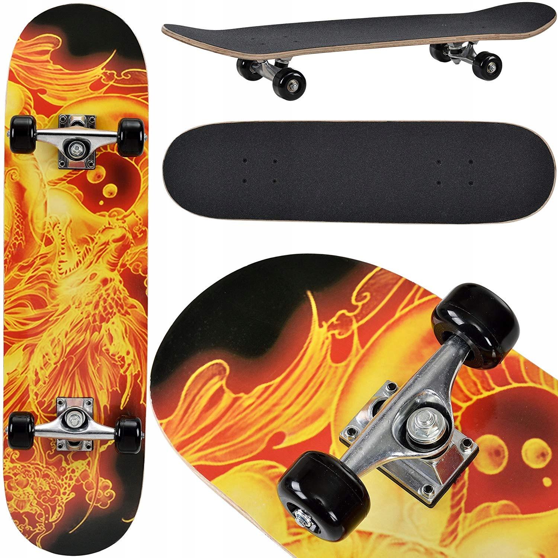 Deskorolka Skateboard motyw ogień 95A ABEC-7