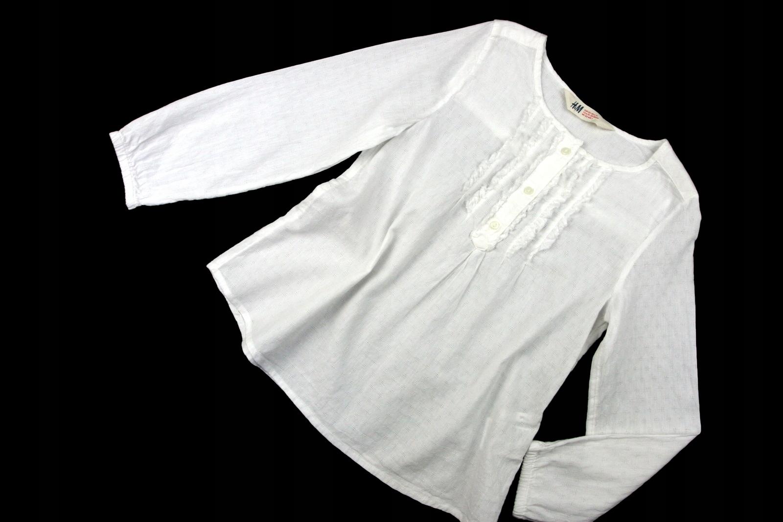 H&M tunika BIAŁA przewiewna BAWEŁNA 6+_122 cm