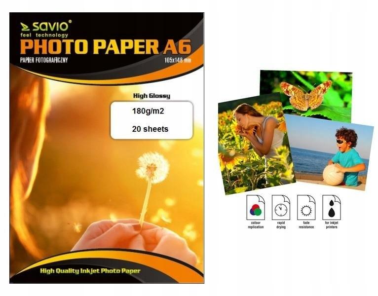 Papier fotograficzny Savio PA-01 A6 180g/m2 20szt.