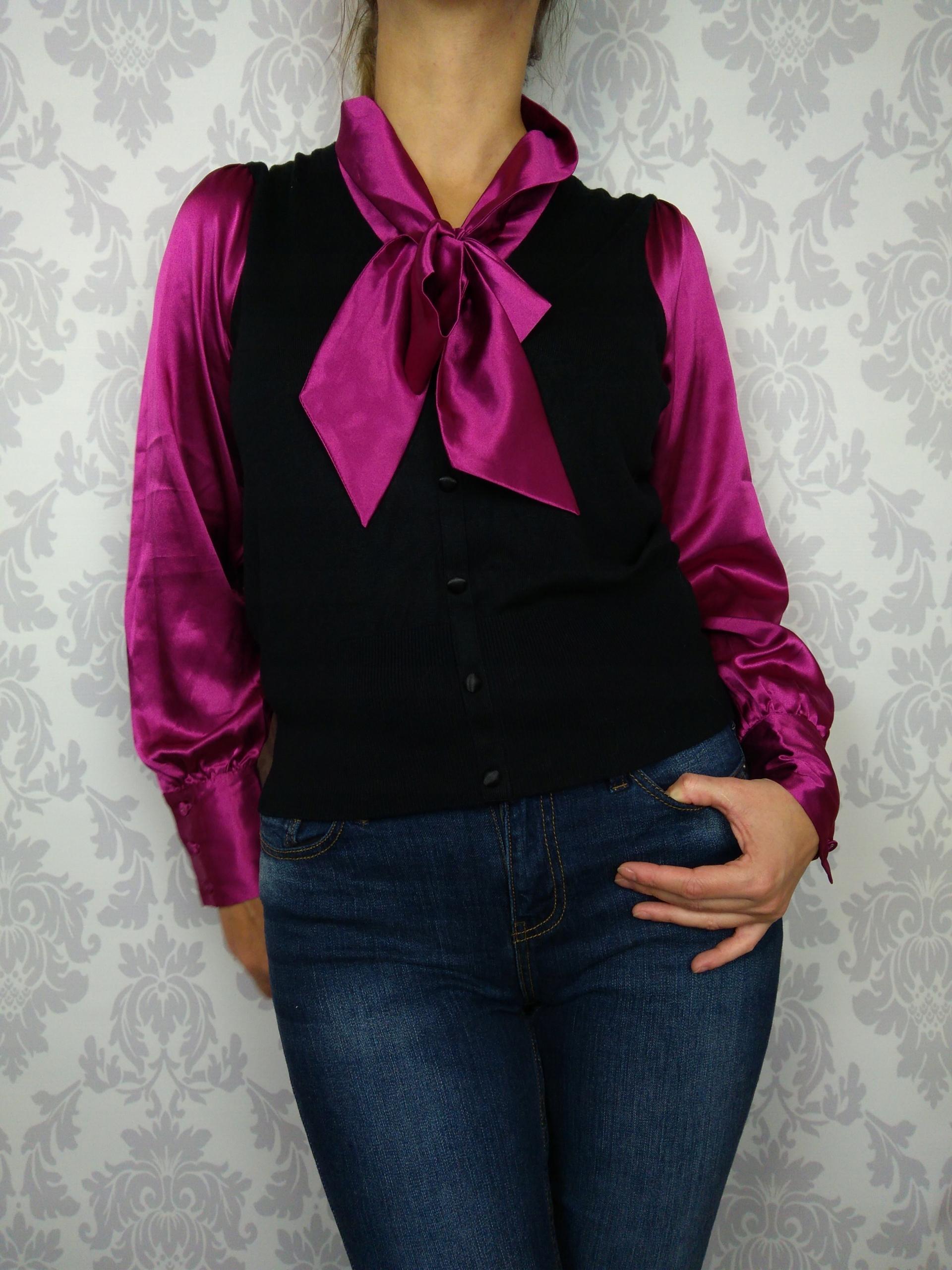 Rozm 42 Elegancki sweter z satynową koszulą Marks