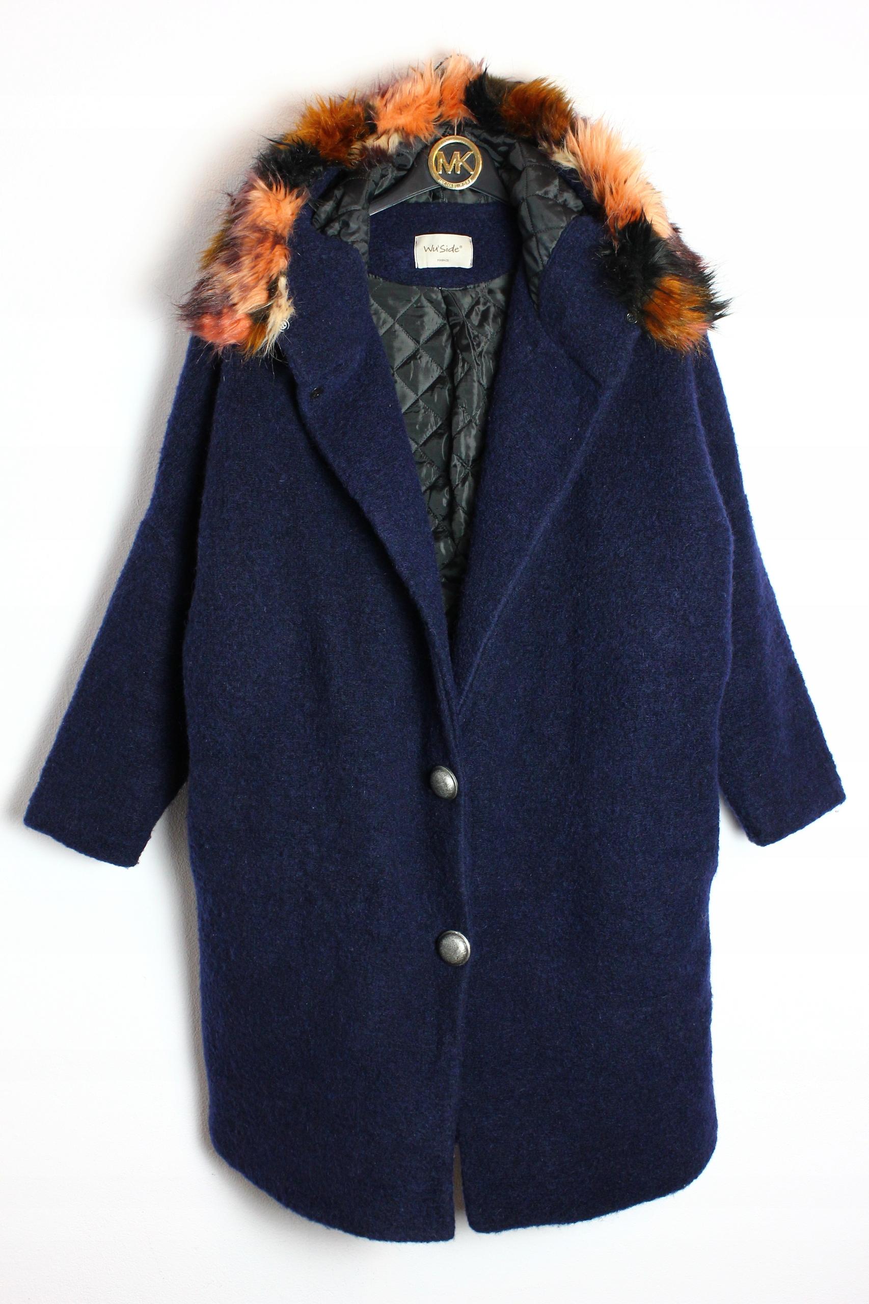 ea1710f87 Ocieplany płaszcz moher oversize Wu Side Firenze L - 7839220988 ...