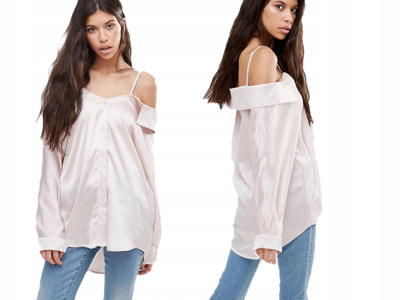 BOOHOO satynowa koszula gołe ramiona M/38