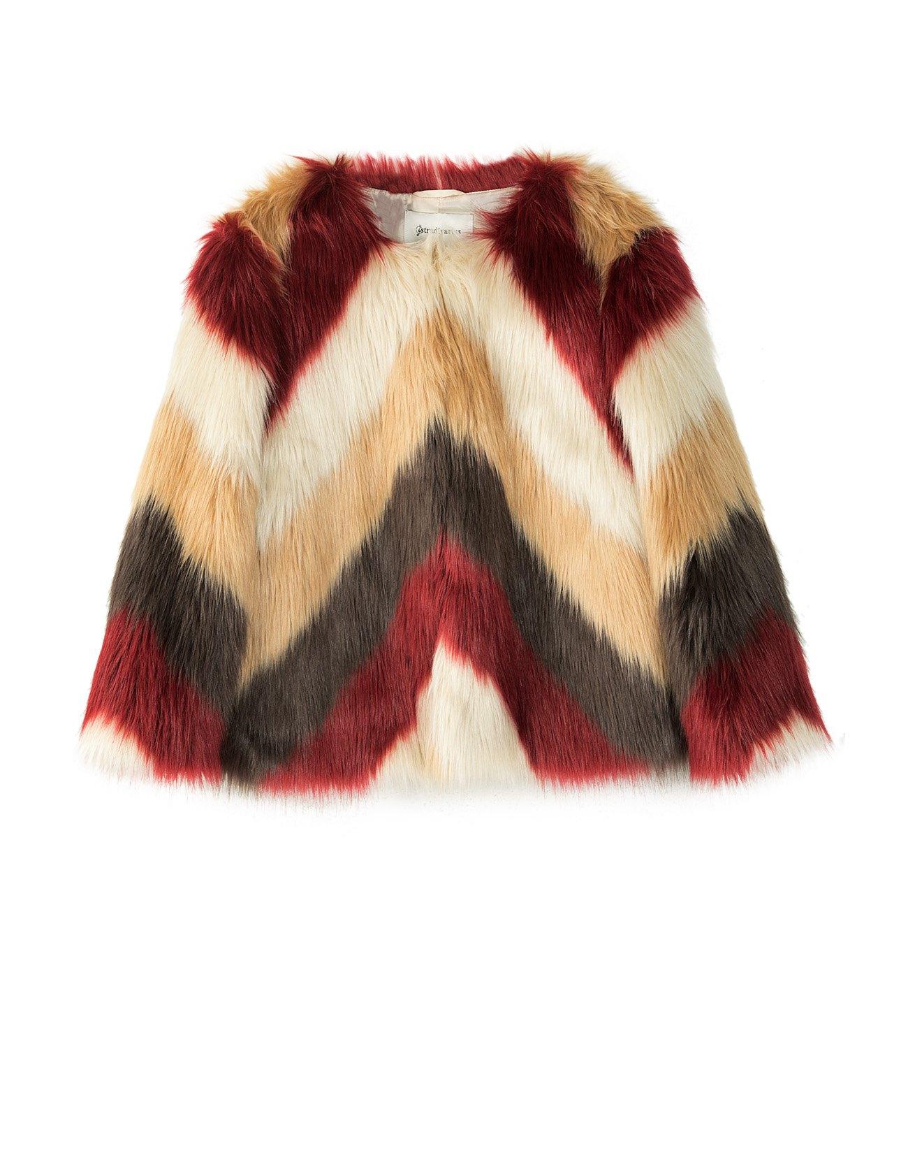 Piękne trójbarwne futerko kurtka - M