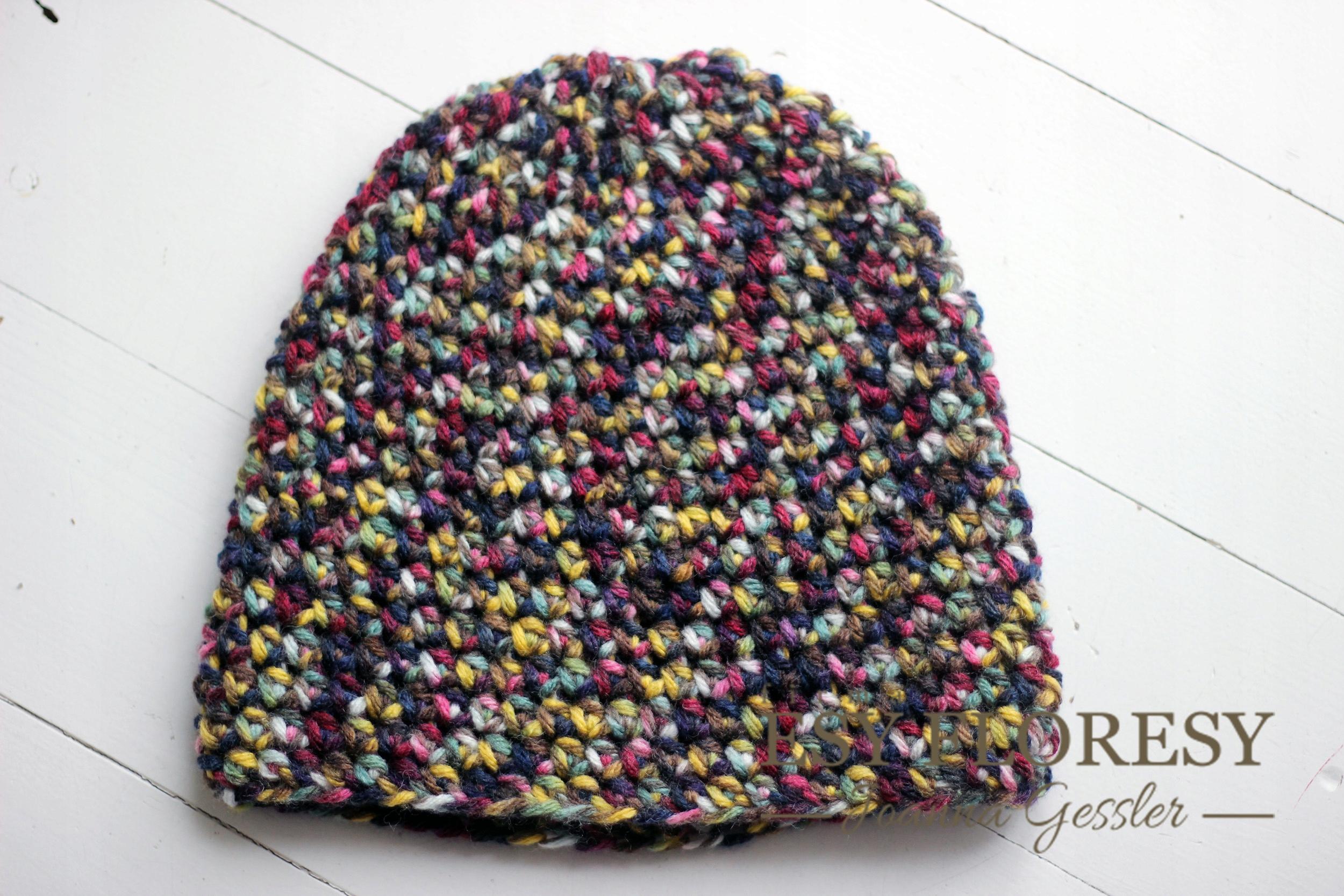 czapka szydełkowa rękodzieło Beanie mix kolorów