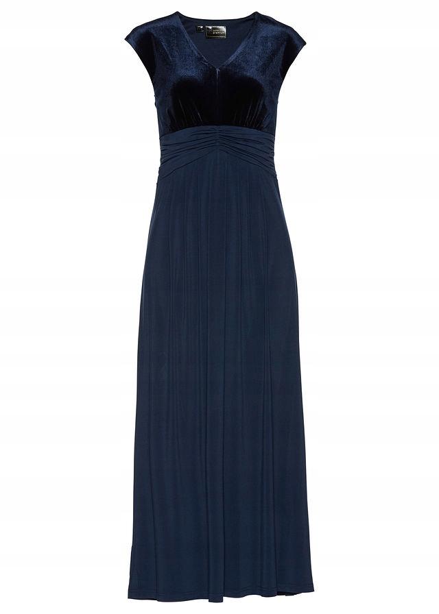 Sukienka wieczorowa z aksami niebieski 38 M 972373