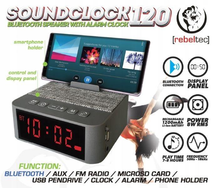 Głośnik przenośny Bluetooth SoundClock 120,,