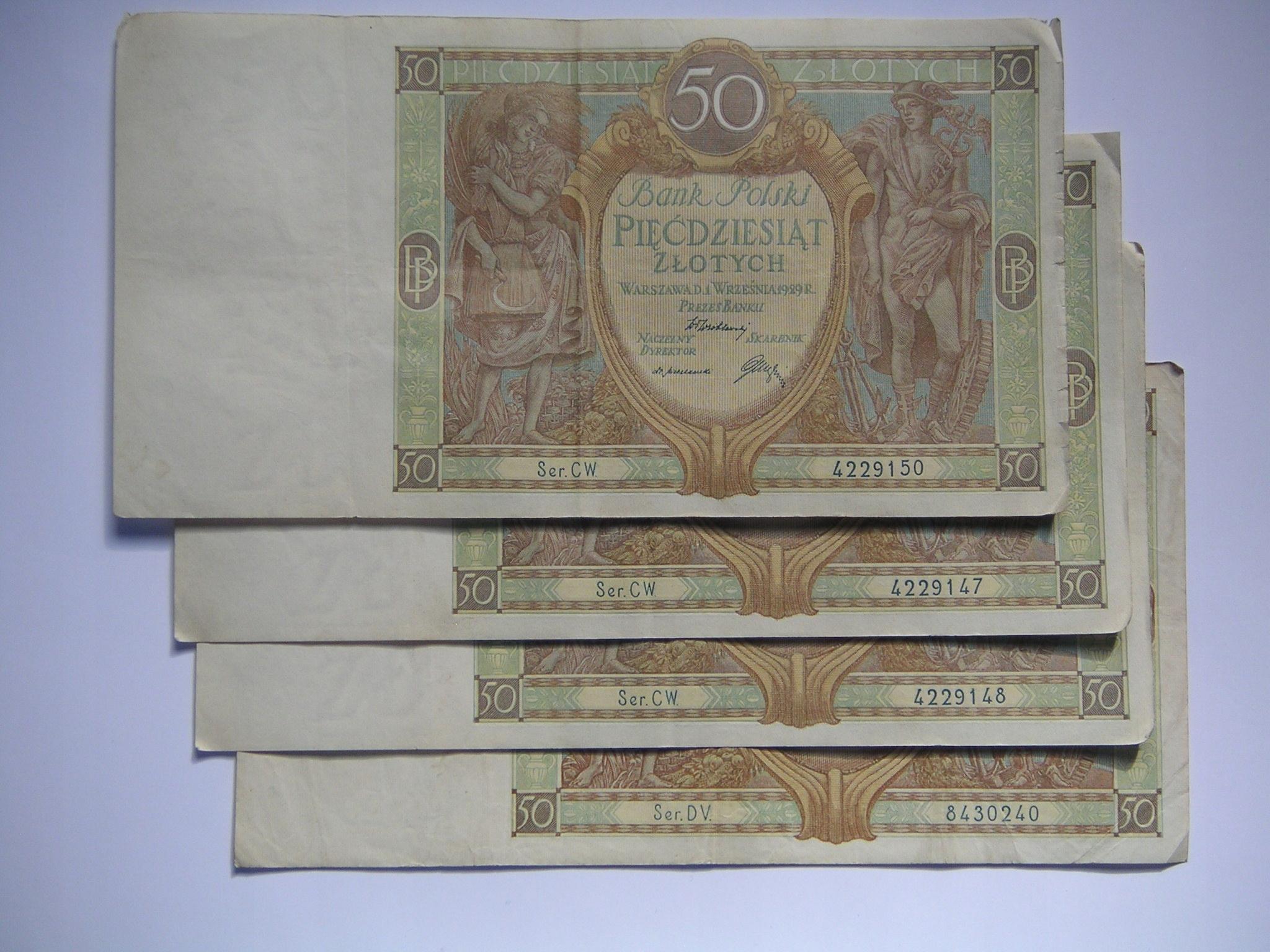 zestaw 4 x 50 złotych z 1929 r.