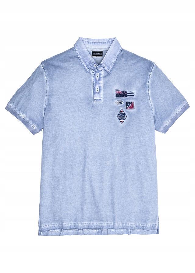 Shirt polo z efektem wy niebieski 52/54 (L) 904556