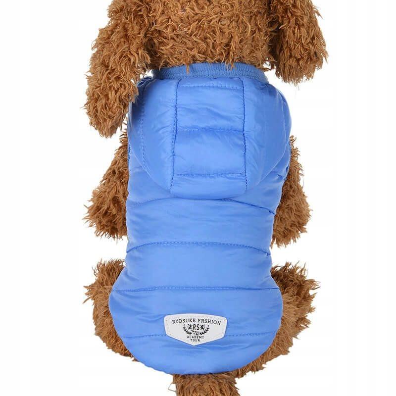 Puchowa kurtka dla psa kaptur napy deszcz nieb XS