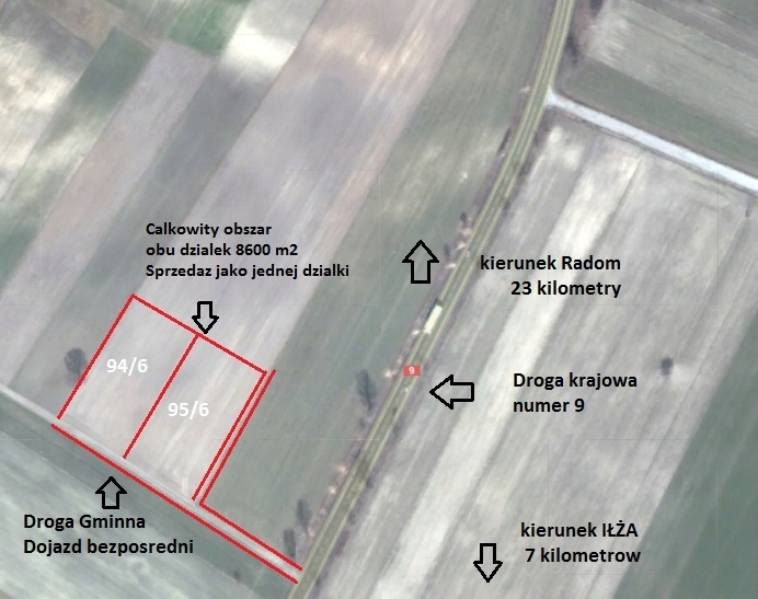 Dzialka inwestycyjna - okolice Radomia - 8600m2