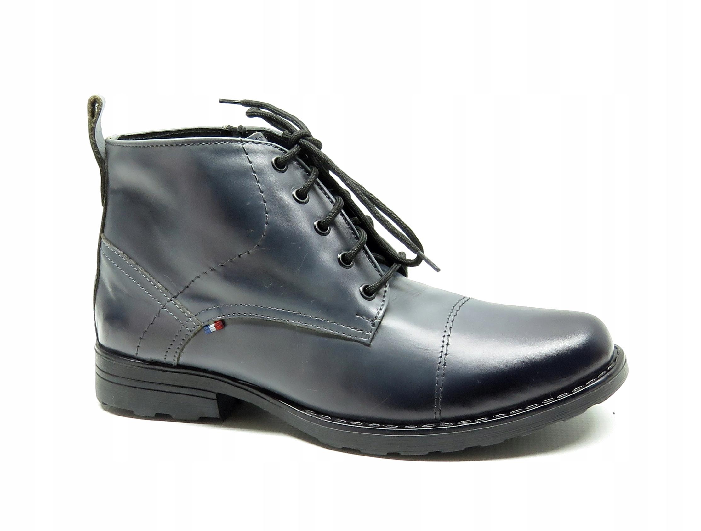 3016 szare workery POLSKIE obuwie skóra 40