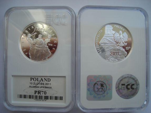 10 zł Powstania Ślaskie 2011 Folder* Grading PR70