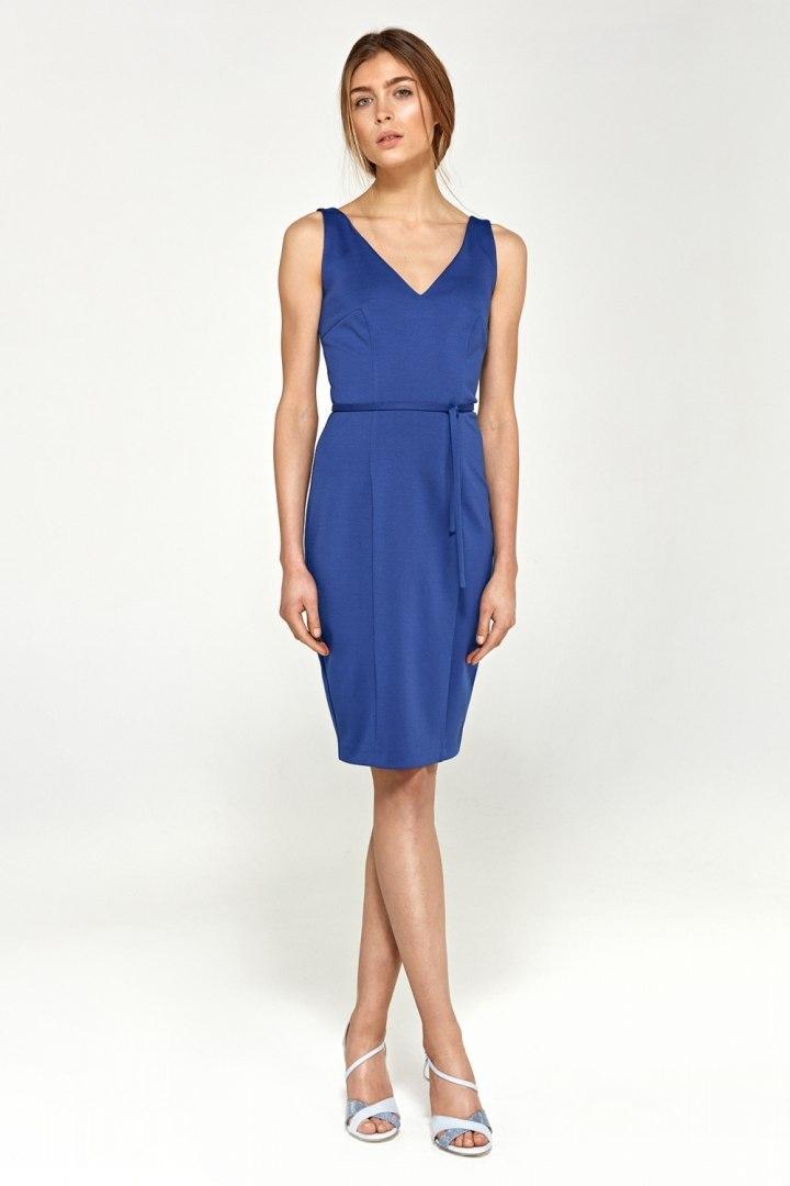 Zmysłowa sukienka z dekoltem na plecach S94 Blue