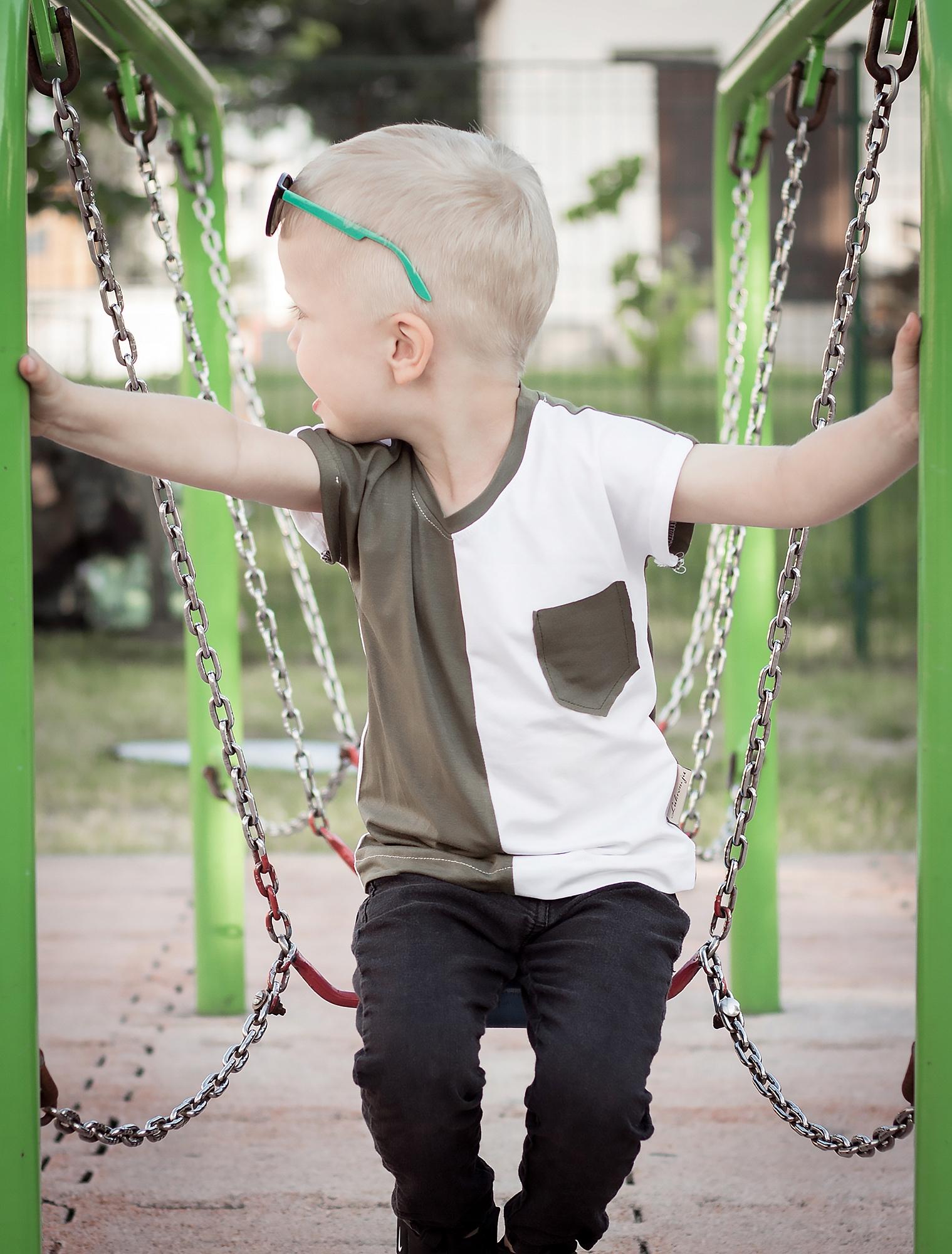 Koszulka chłopiec biało zielona r.92 Lukrencja