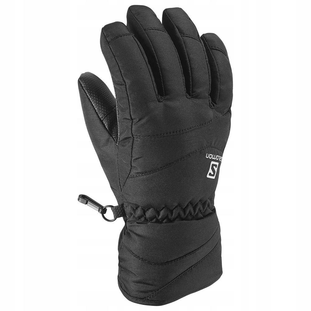 SALOMON Czarne rękawiczki narciarskie logo (10L)