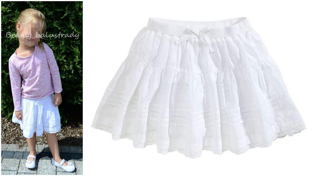 *NEXT* Śliczna spódniczka biała hafty 92