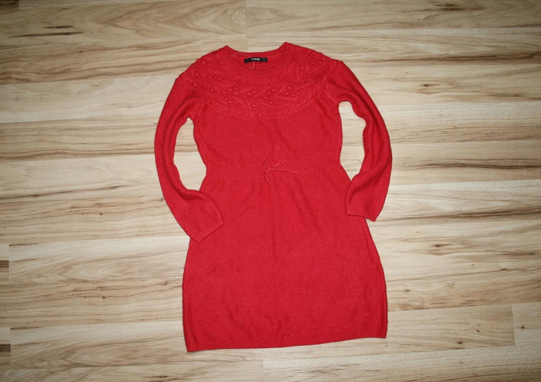 GEORGE sweterkowa sukienka czerwona NOWA 128-134