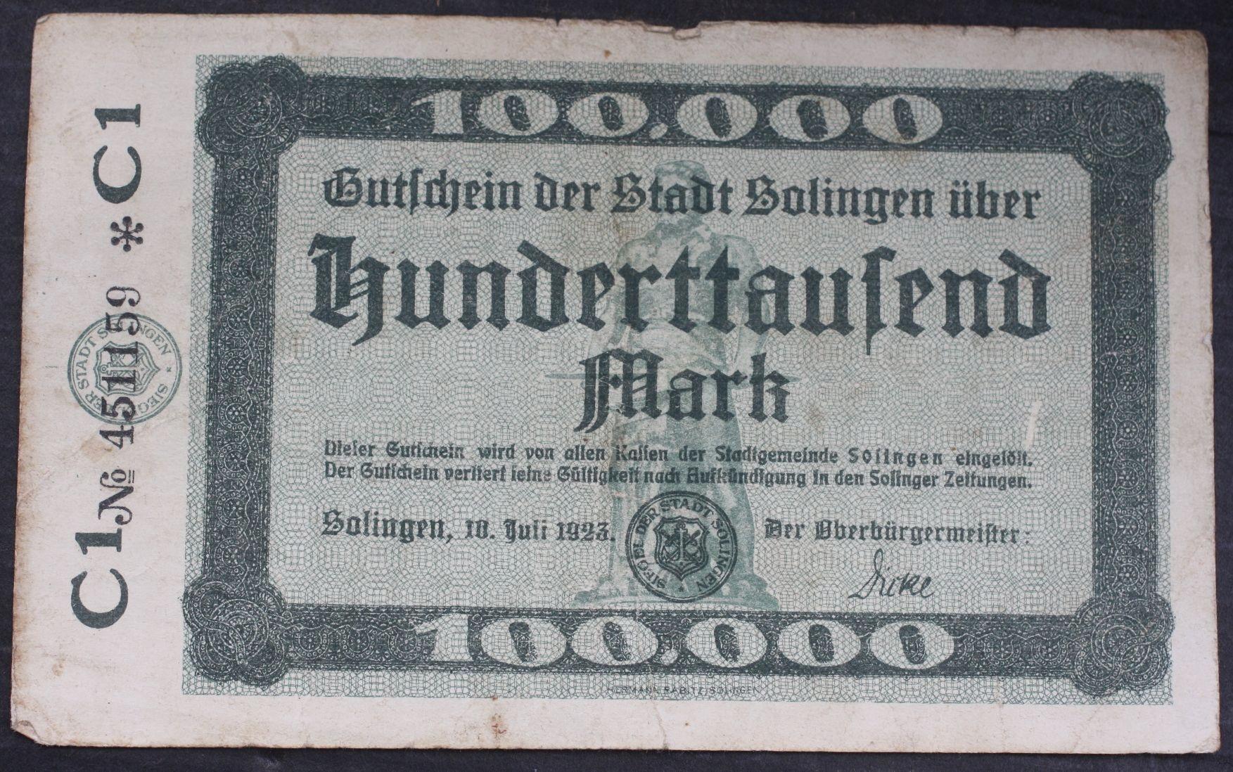 #100 000 Mark 1923 .od 3,99