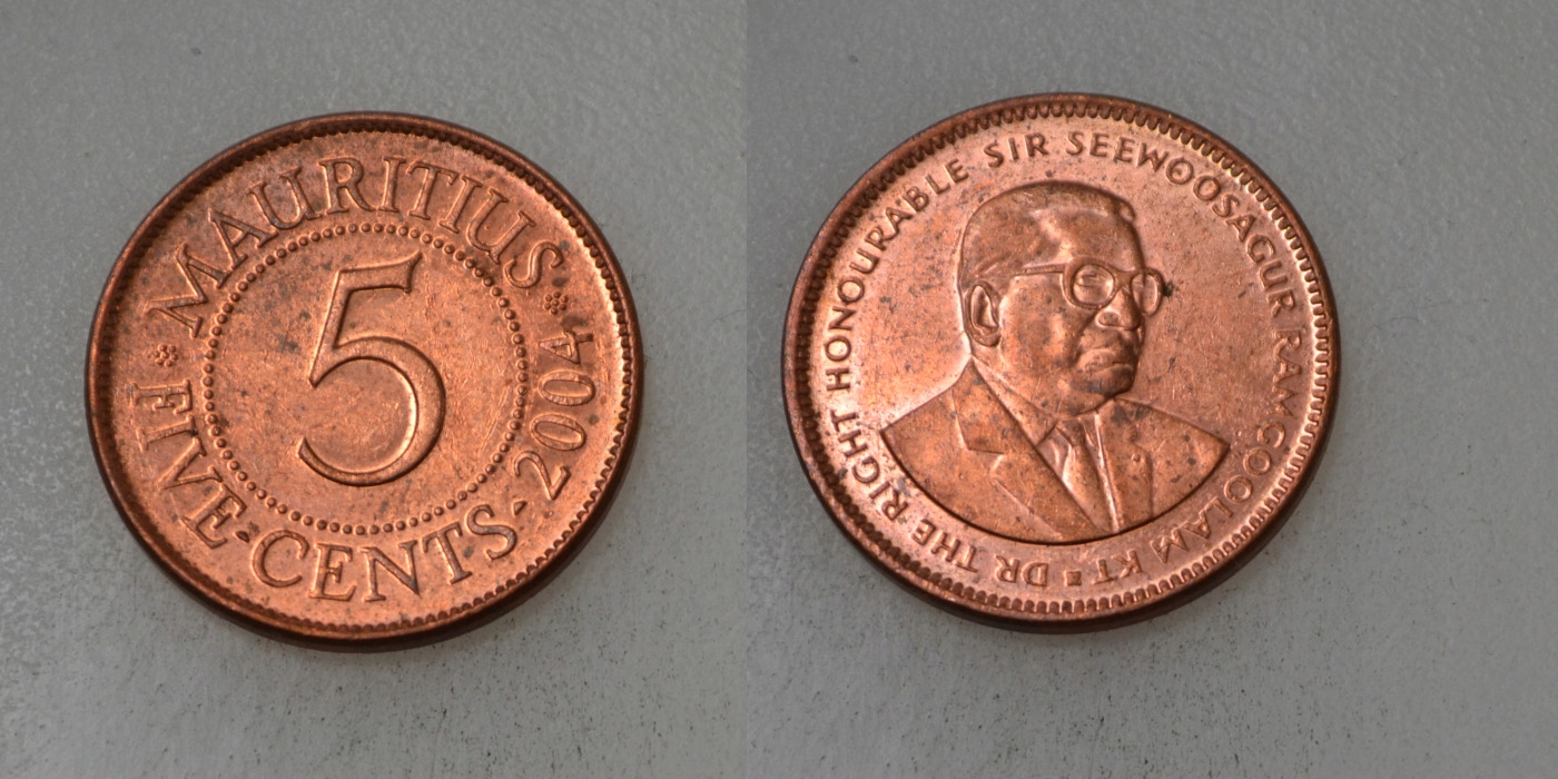 Mauritius 5 Cents 2004 rok BCM