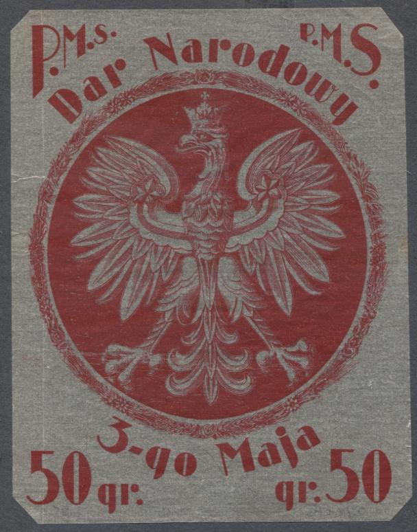 Nalepka okienna, Orzeł, P.M.S. 3-maja, 50ok. 1920r