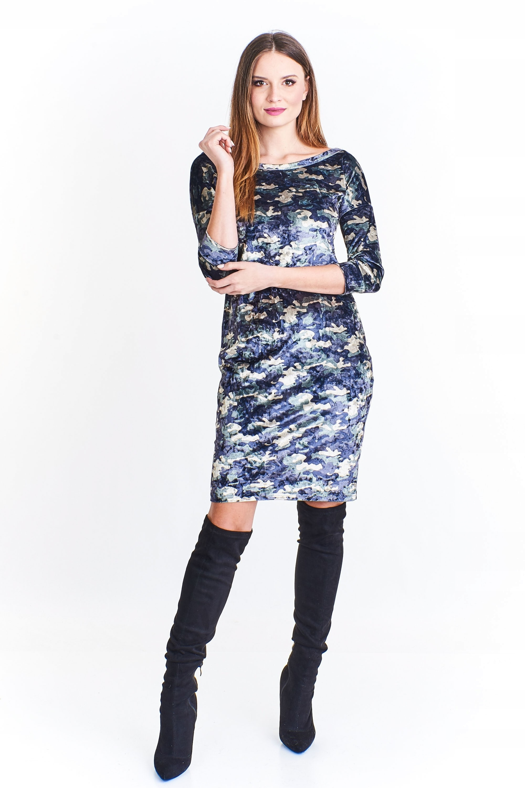 7ed94e8128 Aksamitna sukienka moro Szary U - 7445249024 - oficjalne archiwum ...