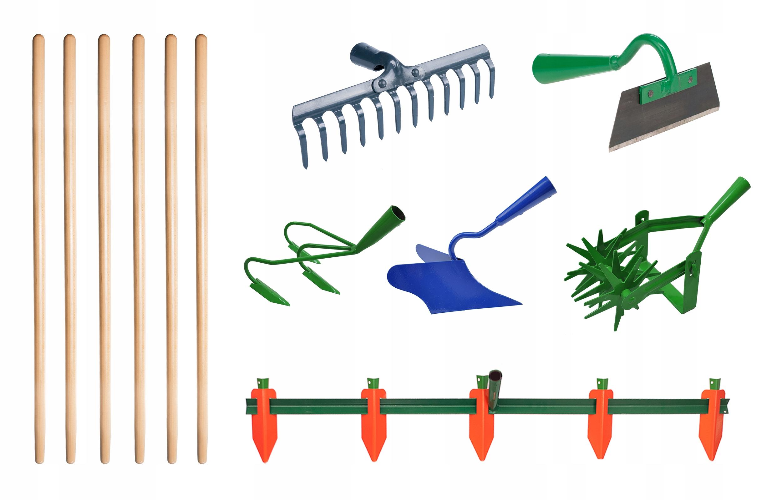 Комплект скарификатора, маркера, окучника, граблей, мотыги