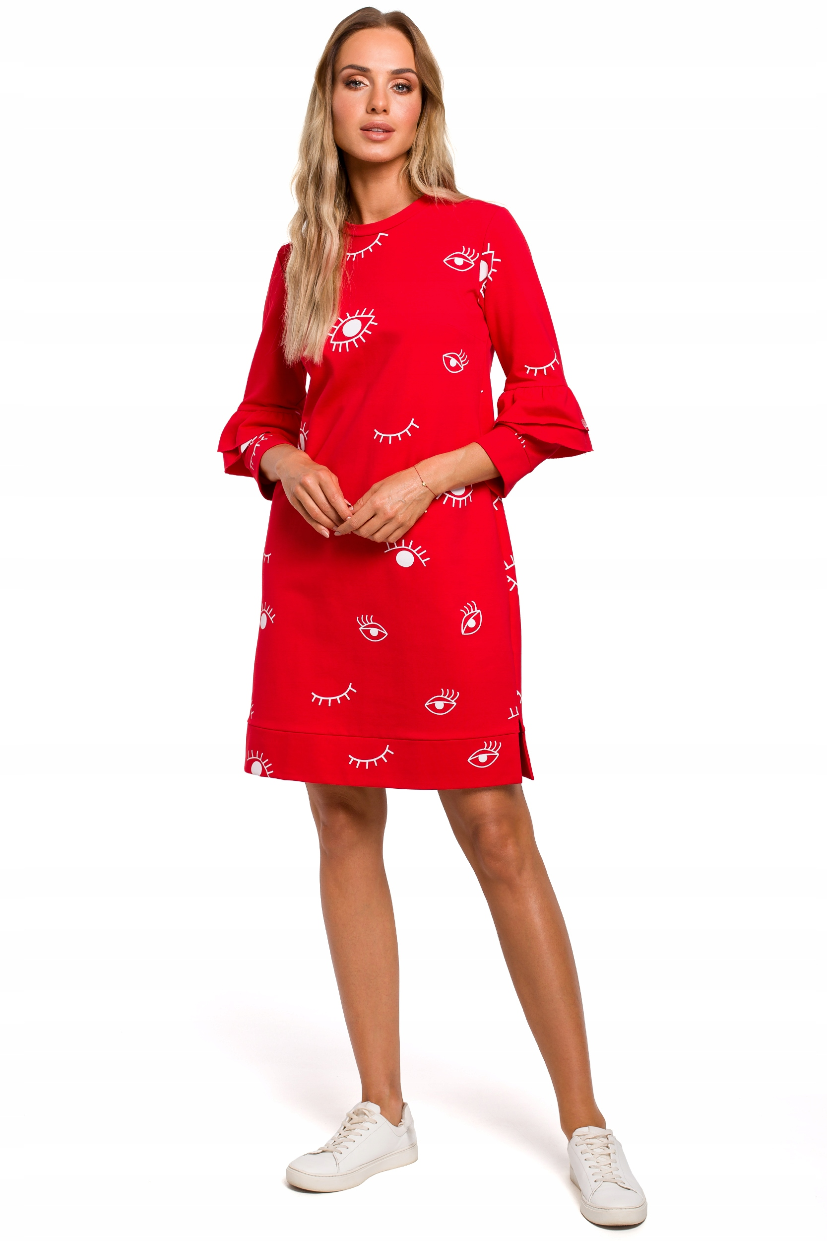 M445 Sukienka z falbankami przy rękawach 44 | XXL