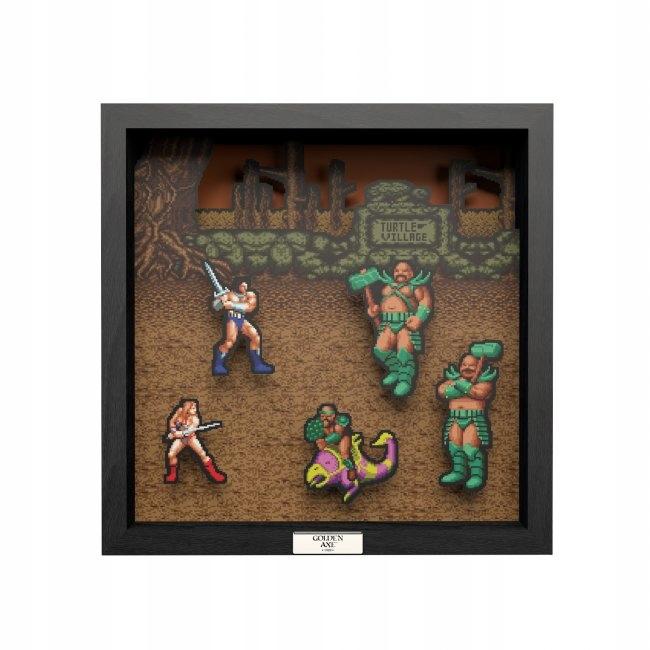 Pixelový rám retro rám so zlatou sekerou veľkosť L
