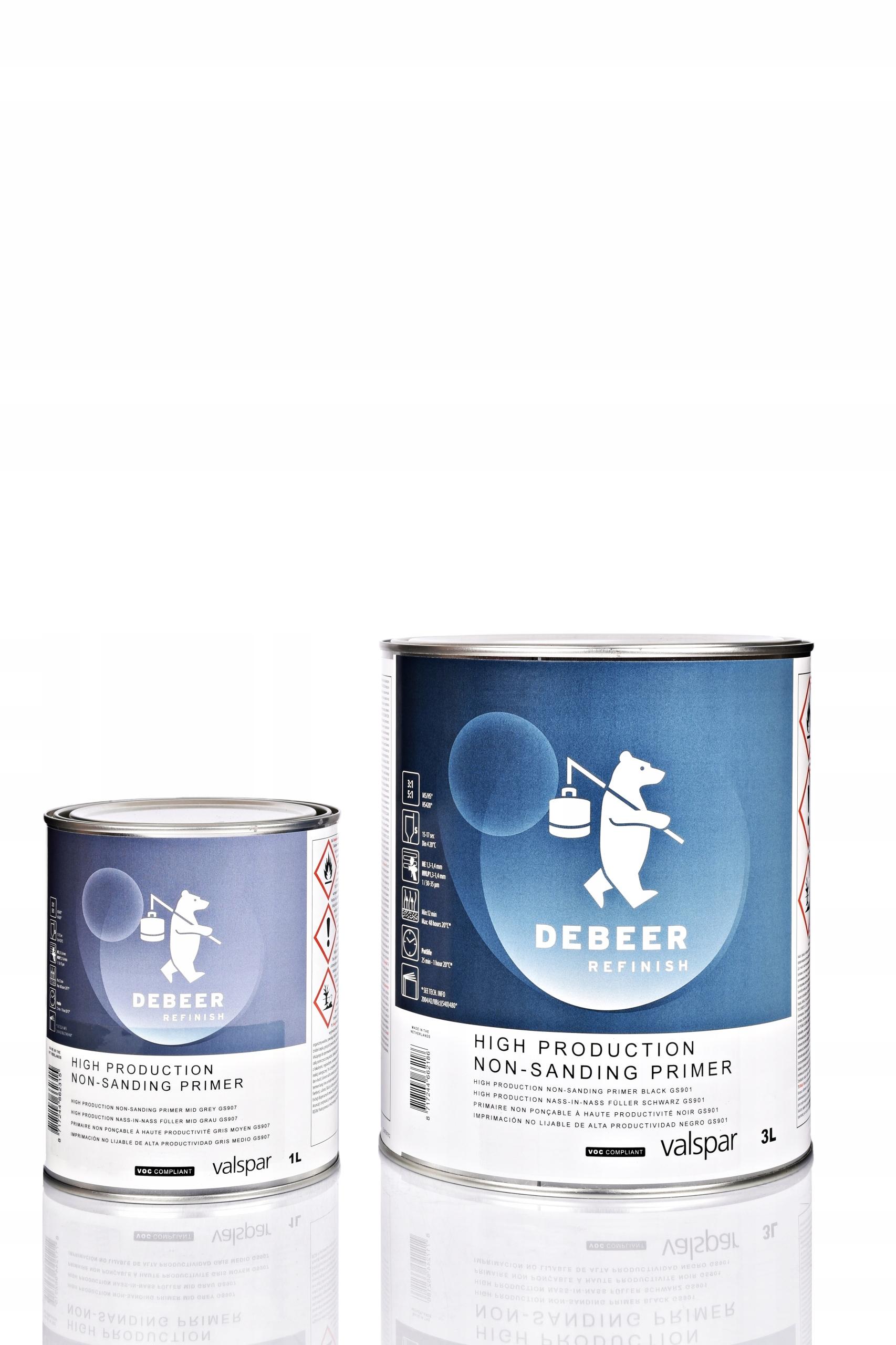 DeBeer грунтовка мокрое по мокрому серый 1 л с твердостью 0,5 л