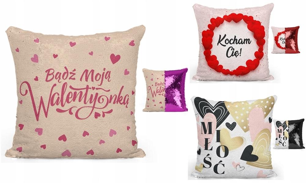 Poduszka Prezent Walentynki MIŁOSNA WZORY cekiny