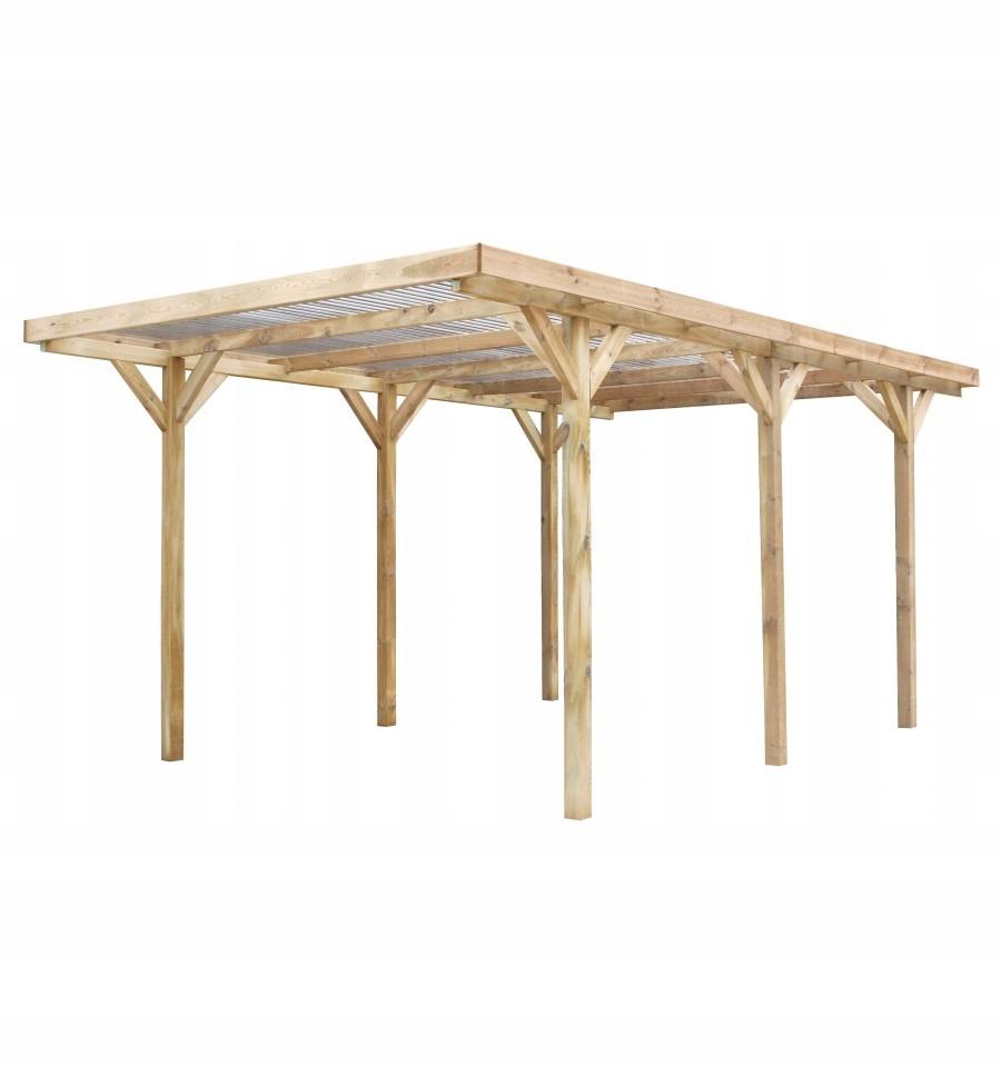 Carport drewniany wiata 3x5 m 90mm + pokrycie PVC