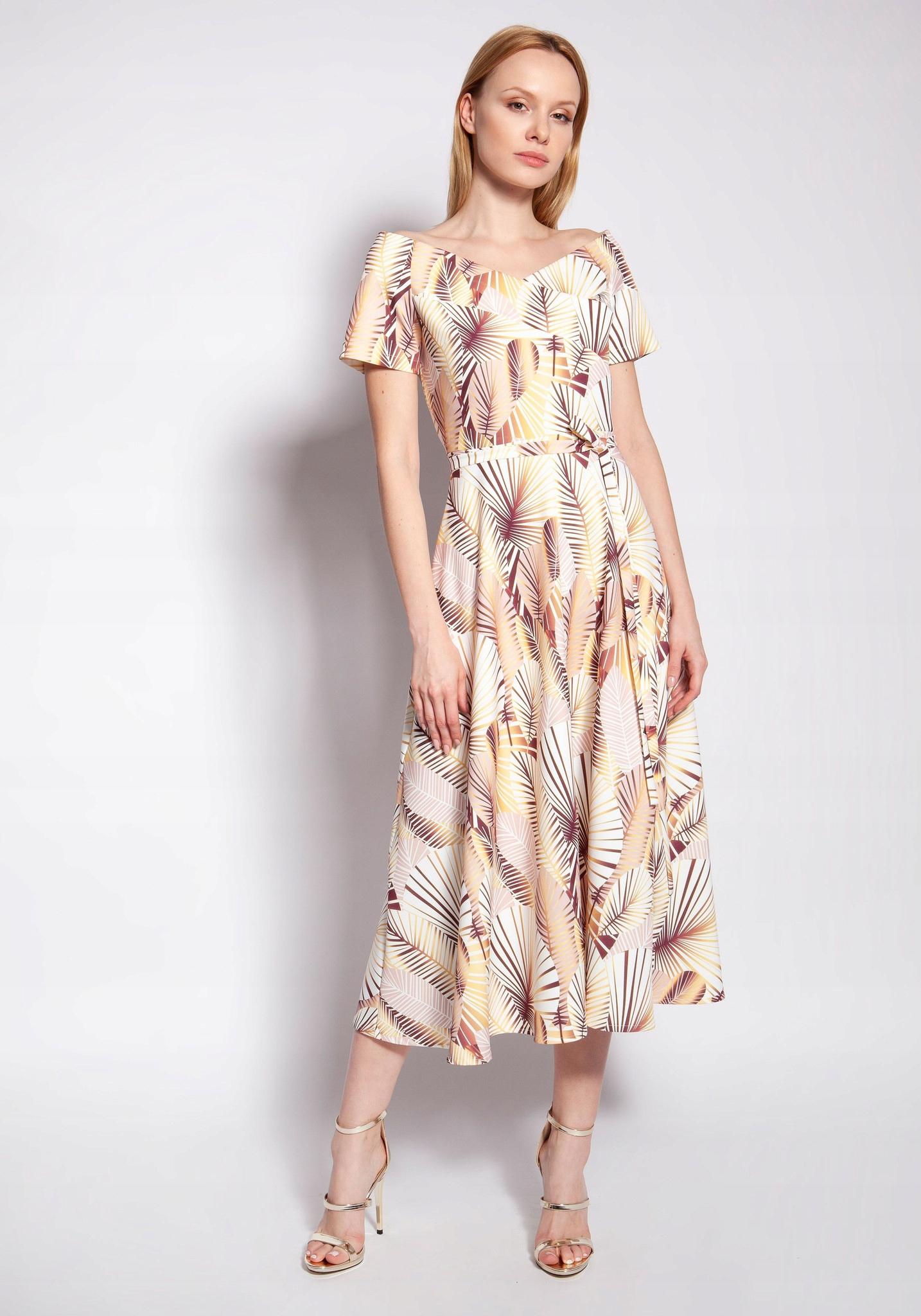 Oryginalna Rozkloszowana Sukienka Wzory XL