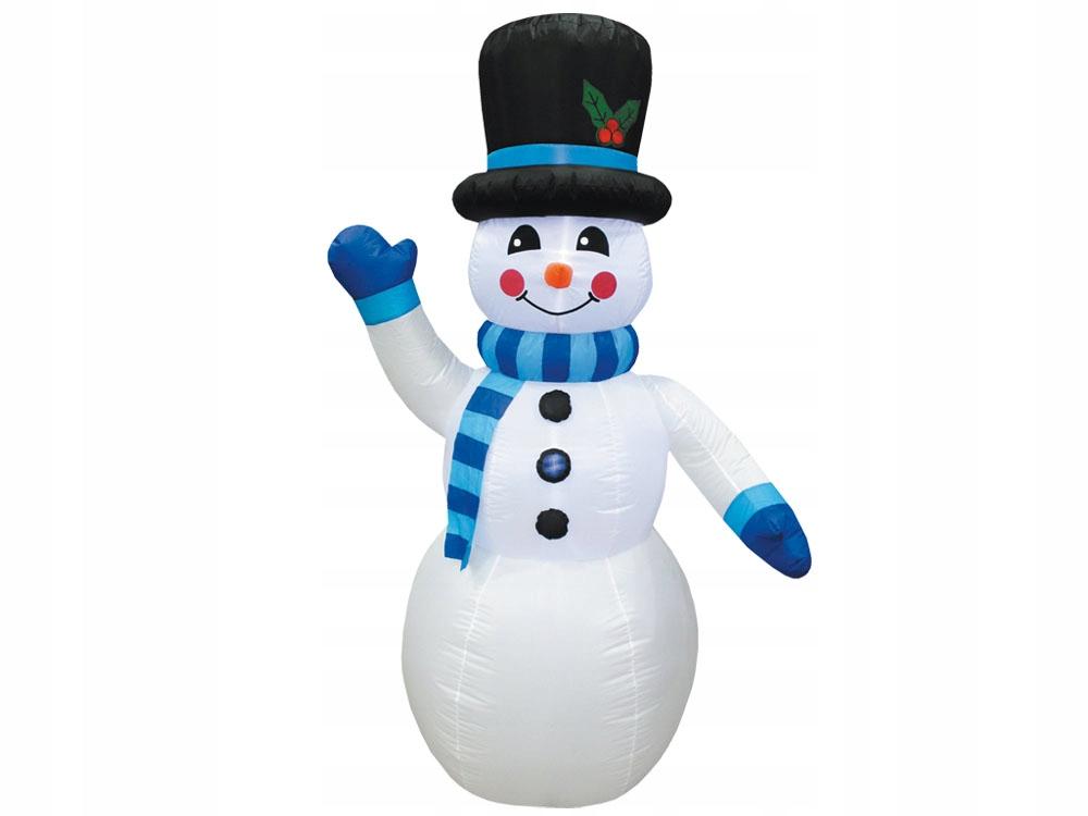 VEĽKÝ nafukovací snehuliak 240cm modrý šál DS0015