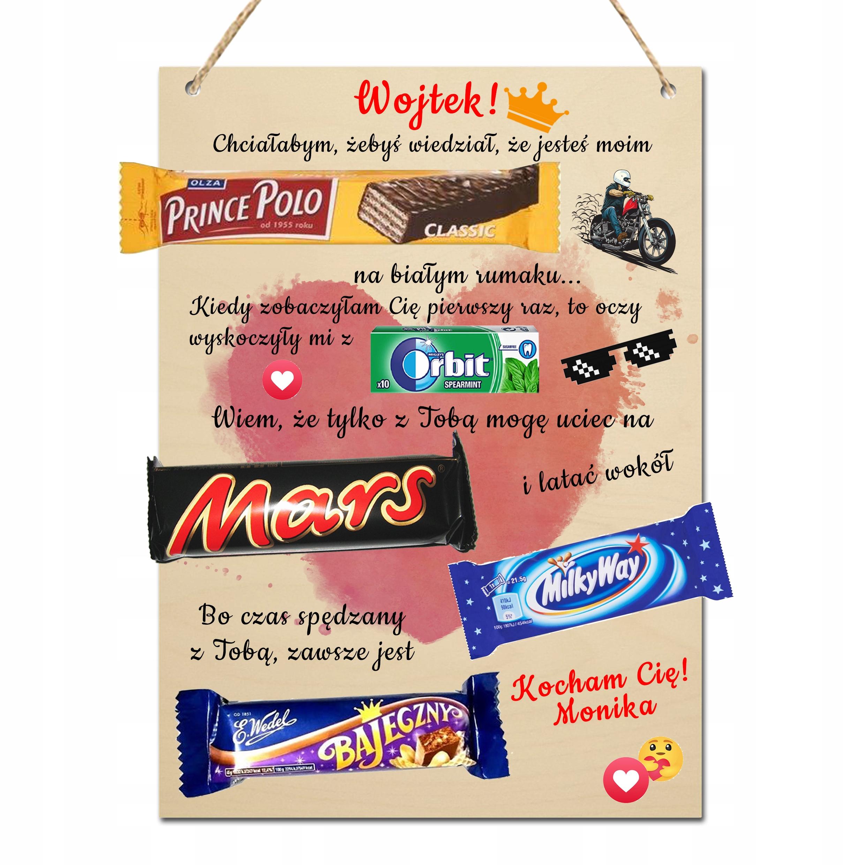 TABLICZKA na słodycze NADRUK PREZENT WALENTYNKI