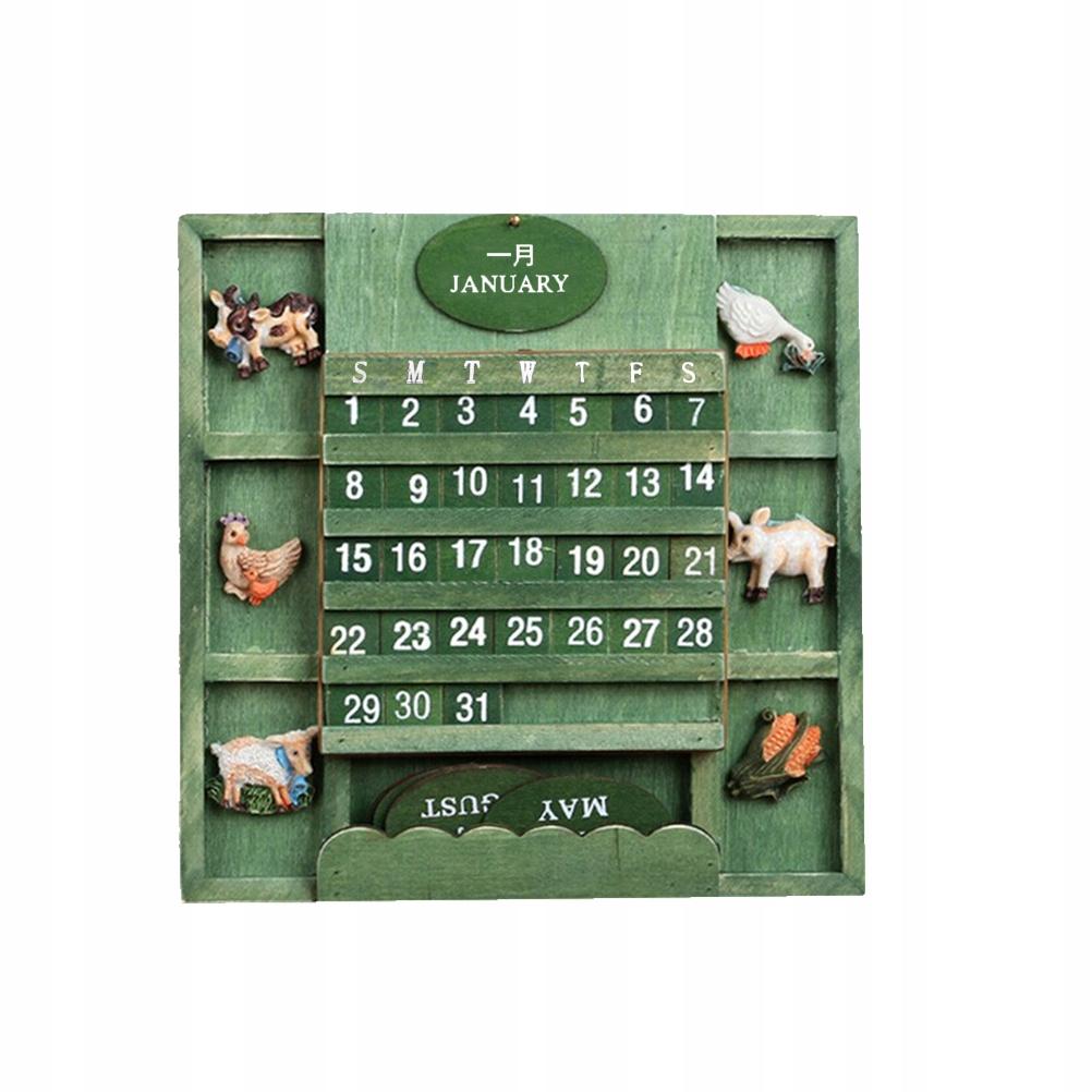 Retro drevený večný nástenný kalendár Strana g